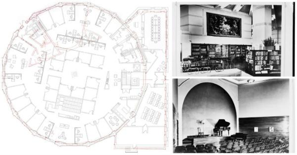 in red the floorplan of the grovsner library reading room circa 1957 in black lumsden mccormicks floor plan circa 2012
