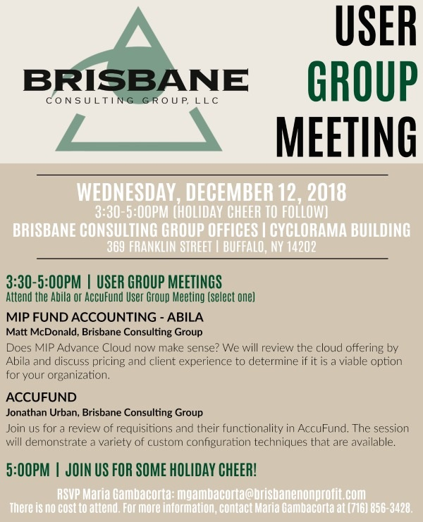 brisbane consulting group user group meeting upcoming events